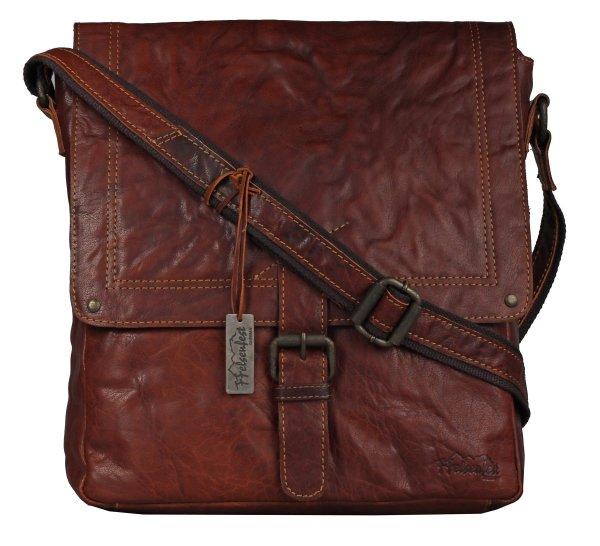 FFelsenfest Vintage Überschlagtasche XL cognac