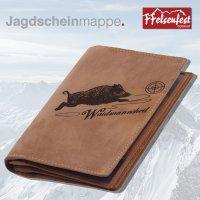 FFelsenfest Leder-Ausweismappe mit Jagd-Motiv I ca....