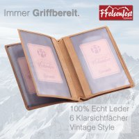 FFelsenfest Leder-Ausweismappe mit Jagd-Motiv I ca. 16,5x11x1cm